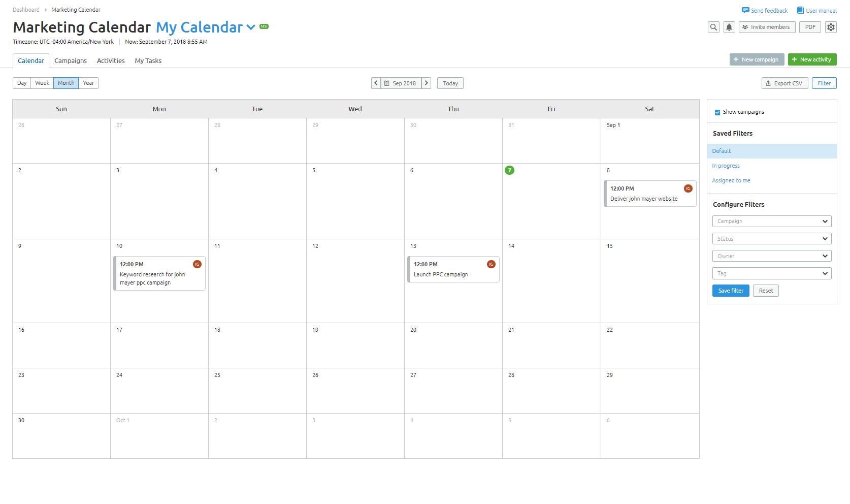 Marketing Calendar Tool