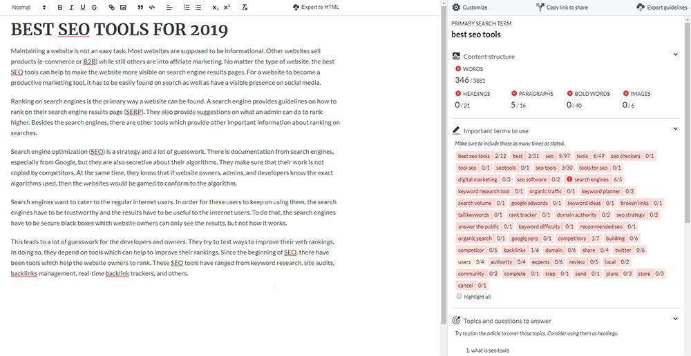 SurferSEO Content Editor